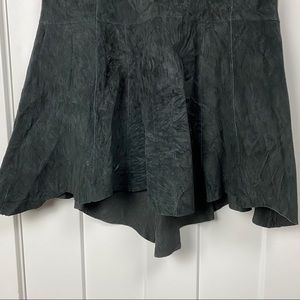 CAbi Skirts - CAbi 6 black suede leather midi high-low skirt